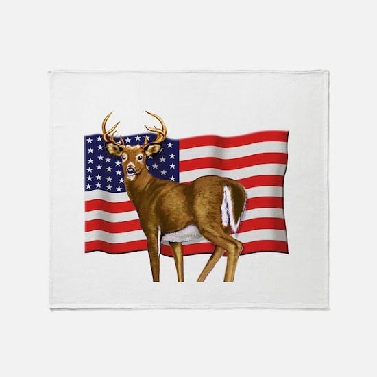 American White Tail Deer Buck Throw Blanket