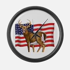 American White Tail Deer Buck Large Wall Clock