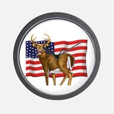 American White Tail Deer Buck Wall Clock