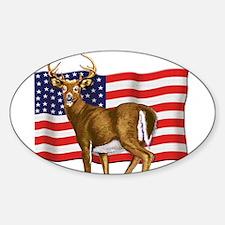 American White Tail Deer Buck Sticker (Oval)