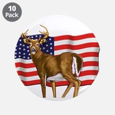 """American White Tail Deer Buck 3.5"""" Button (10 pack"""