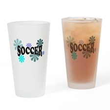 Soccer with Blue Flowers Drinking Glass