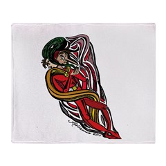 Comic Tornado Character in Red Throw Blanket