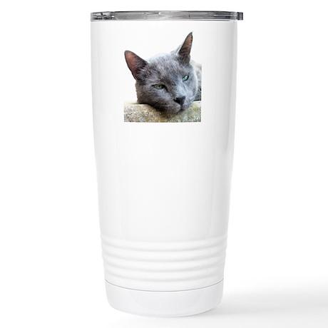 Grey Cat Face Stainless Steel Travel Mug
