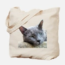 Grey Cat Face Tote Bag