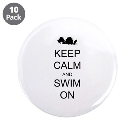 "Keep Calm and Swim On Sea Monster 3.5"" Button (10"