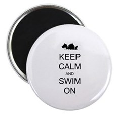 "Keep Calm and Swim On Sea Monster 2.25"" Magnet (10"