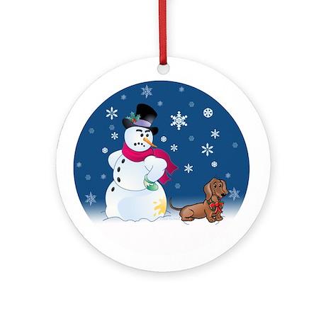 Dachshund and Snowman Ornament (Round)