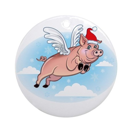 Merry Pigmas and a Hoggy New Year Ornament (Round)