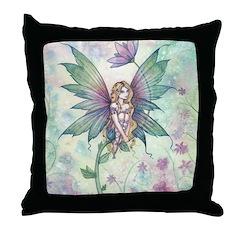 Mystic Garden Flower Fairy Art Throw Pillow
