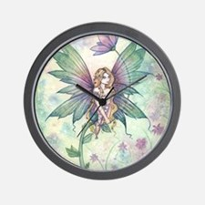 Mystic Garden Flower Fairy Art Wall Clock