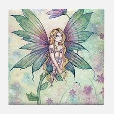 Mystic Garden Flower Fairy Art Tile Coaster