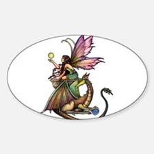 Dragon's Orbs Fairy and Dragon Art Sticker (Oval)