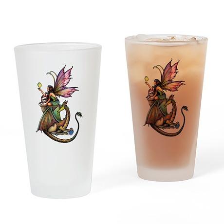 Dragon's Orbs Fairy and Dragon Art Drinking Glass