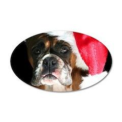 Christmas Boxer Dog 22x14 Oval Wall Peel