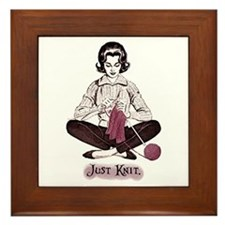 Knitters Just Knit Framed Tile