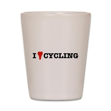 I Love Cycling Shot Glass