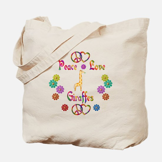 Peace Love Giraffes Tote Bag