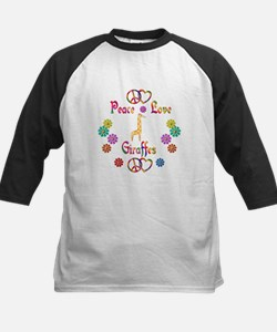Peace Love Giraffes Kids Baseball Jersey