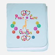 Peace Love Giraffes baby blanket