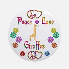 Peace Love Giraffes Ornament (Round)