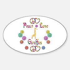 Peace Love Giraffes Sticker (Oval)