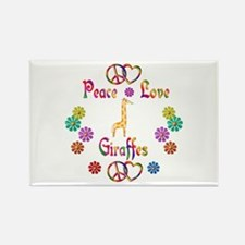 Peace Love Giraffes Rectangle Magnet