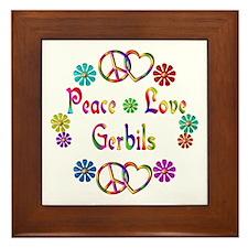 Peace Love Gerbils Framed Tile