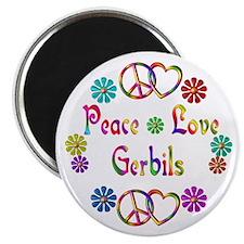 Peace Love Gerbils Magnet