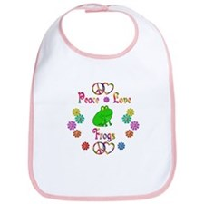 Peace Love Frogs Bib