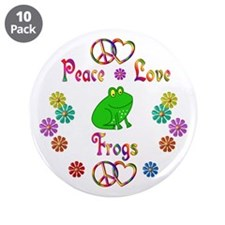 """Peace Love Frogs 3.5"""" Button (10 pack)"""