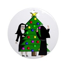 Catholic Nuns Christmas Ornament (Round)