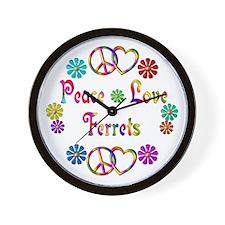 Peace Love Ferrets Wall Clock