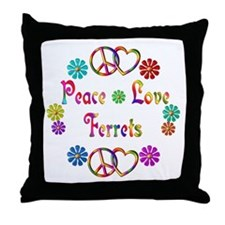 Peace Love Ferrets Throw Pillow