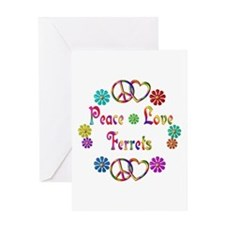 Peace Love Ferrets Greeting Card