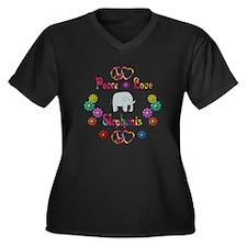 Peace Love Elephants Women's Plus Size V-Neck Dark
