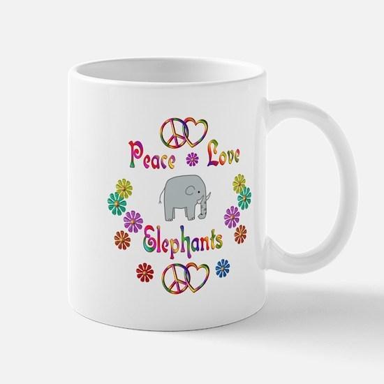 Peace Love Elephants Mug