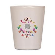 Peace Love Elephants Shot Glass
