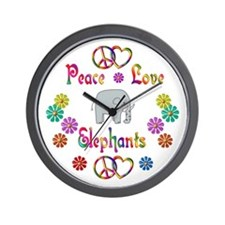 Peace Love Elephants Wall Clock