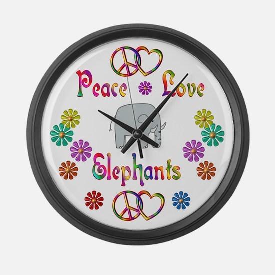 Peace Love Elephants Large Wall Clock