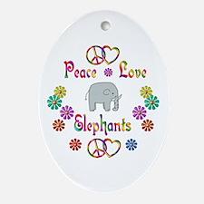 Peace Love Elephants Ornament (Oval)