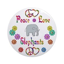 Peace Love Elephants Ornament (Round)