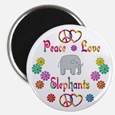 "Peace Love Elephants 2.25"" Magnet (100 pack)"