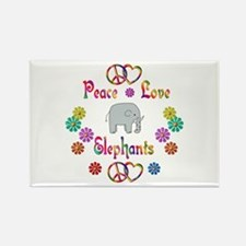 Peace Love Elephants Rectangle Magnet