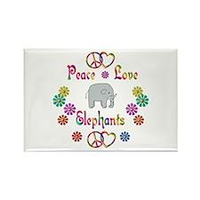 Peace Love Elephants Rectangle Magnet (100 pack)