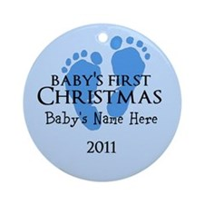 Sweet Baby Feet First Christm Ornament (Round)