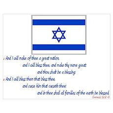 Gen 12: 2-3 Israel Flag Poster