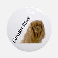 Cavalier Mom-Ruby Ornament (Round)