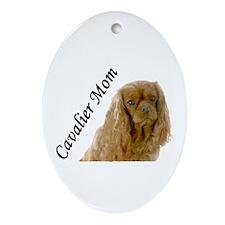 Cavalier Mom-Ruby Ornament (Oval)