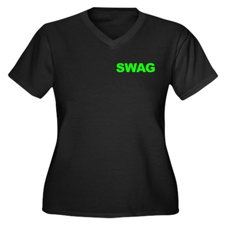 SWAG Women's Plus Size V-Neck Dark T-Shirt